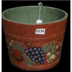 Antique Hand-painted Tole Wooden Orchard Bucket