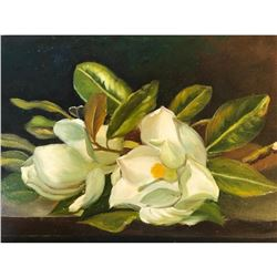 20thc Oil on Canvas Still Life, Magnolia Branch