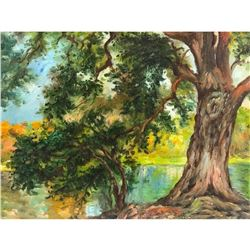20thc Oil Impressionist, Oil on Canvas Painting, Oak & River Scene