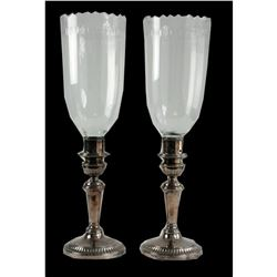 Regency Silver Plate Crystal Hurricane Lamps