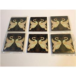 Set of Art Deco-Style Decorative Ceramic Swan Tiles