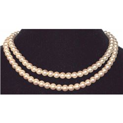 "Necklace Pearl White Beige Cream Multi 2 Strand Silver Designer 8mm 17"" Japan"