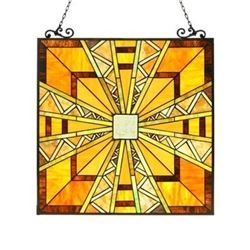 """PROGRESSIVE"" Tiffany-style Glass Window Panel 24.5x26"