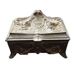 Baroque Floral Pewter Trinket, Jewel Casket Box