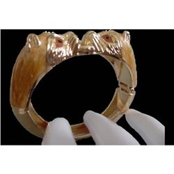 Apricot Panthers Hinged Hinge Bracelet Cuff Clamper Pumas Cat