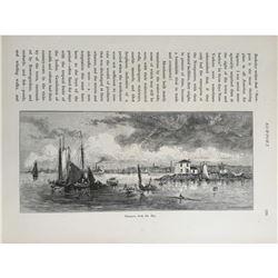 1870's Book Plate, Newport Rhode Island Bay