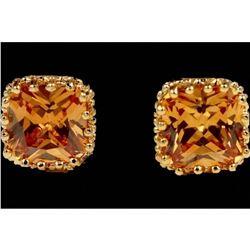 Golden Topaz Czech Crystal Crown Set Stud Earrings
