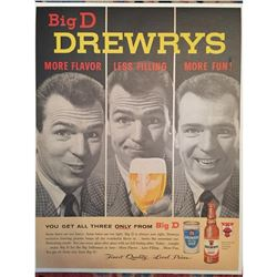 1950's Indiana Brewery Drewrys Beer Ad