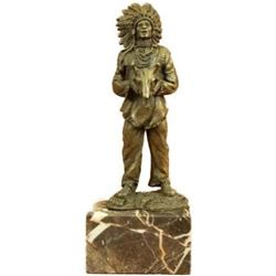 Indian with Feathered Headdress Holding an Ox Head Bronze Sculpture Statue Decor