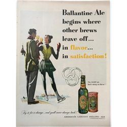 1951 Ballantine Ale Ice Skating Magazine Ad