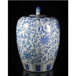 Large Chinese Blue & White Covered Ceramic Jar