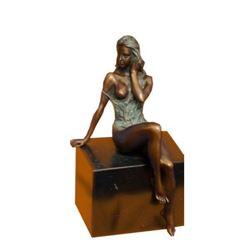 Special Patina Sexy Nude Erotic Woman Bronze Sculpture by Italian Artist Mavchi