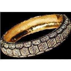 Bangle Bracelet Hinged Honeycomb Design Paved with Crystals