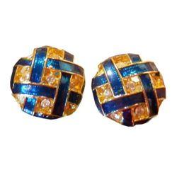 Royal Blue Enamel Rhinestone Vintage 1980's Round Padded Clip On Earrings