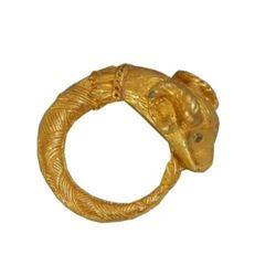 Cool Circle Goat Capricorn Zodiac Rhinestone Eye Vintage 70's Brooch
