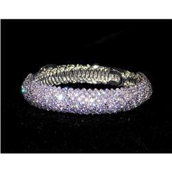 Flexible Silver Clear Rhinestone Crystal Bridal Bracelet Cuff