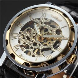 Mens Mechanical Skeleton Wrist Watch Gold Antique Design