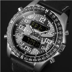 INFANTRY Mens Digital Quartz Wrist Watch Military Sport Camo Cool Black Nylon