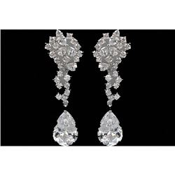 18k White Gold Plated CZ Drop Earrings