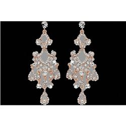 Rose Gold Plated Clear Czech Crystal Chandelier Drop Earrings