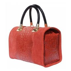 EMMA Boston-Style bag Alligator Patterned Calf Leather