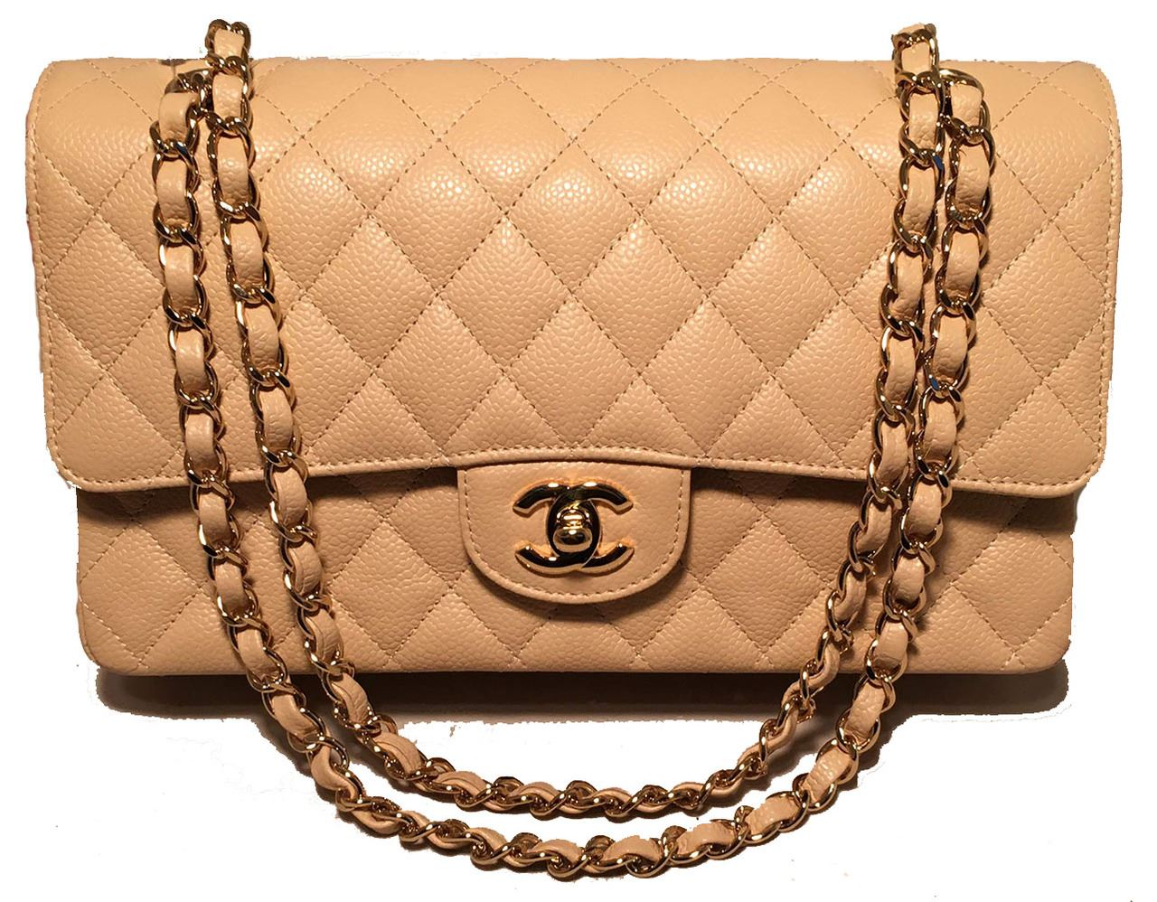 ca4eb20382a0 Image 1 : Chanel Nude 10inch Quilted Caviar 2.55 Double Flap Classic  Shoulder Bag ...