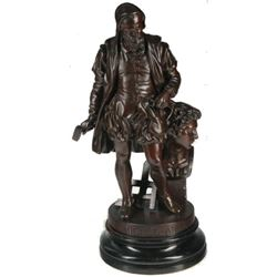 19thc French Patinated Spelter Figure Of Michelangelo