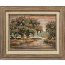 Late 20thc, William Stracener, Oak Tress & Marsh Lanscape Oil Paintings