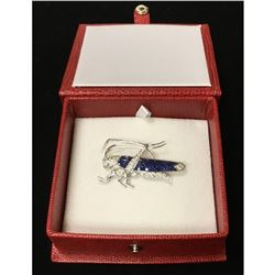 One Of A Kind 18K White Gold, Hue Blue Sapphire, And Many Diamonds Top Quality Grasshopper Broach