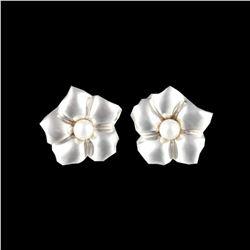 Tiffany & Co. Flower Pierced Earrings Sterling Silver
