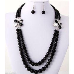 Classic Black Onyx bead Necklace & Earrings Set