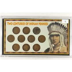 2 CENTURIES OF INDIAN HEAD CENT SET CONTAINS: