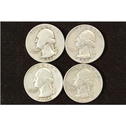 1941,53-D,56 & 63-D WASHINGTON SILVER QUARTERS