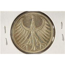 1969-D GERMAN SILVER 5 MARKS BRILLIANT UNC