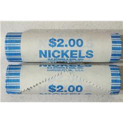 2-$2 ROLLS OF 2004-D JEFFERSON NICKELS BRILLIANT
