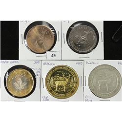 5 ASSORTED CANADA TRADE DOLLARS UNC 2004 & 2005
