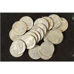 20 ASSORTED FULL DATE 1930'S BUFFALO NICKELS