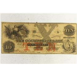 1850 THE COCHITUATE BANK $10 OBSOLETE BANK NOTE