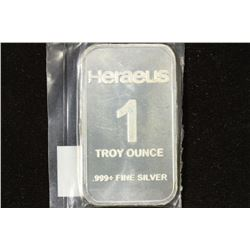 1 TROY OZ .999+ FINE SILVER PROOF INGOT HERAEUS