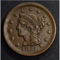 1851 LARGE CENT XF+