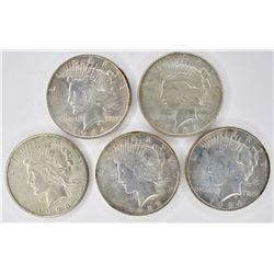 5 PEACE DOLLARS: