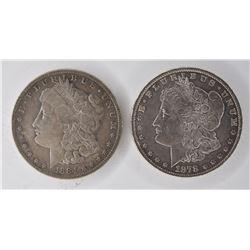 2  MORGAN DOLLARS:  1878 7 TF AU+ &