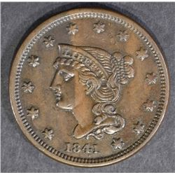 1841 LARGE CENT  BEAUTIFUL BROWN UNC
