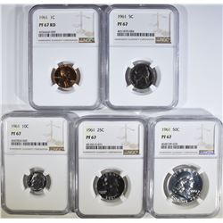 1961 PROOF SET, ALL COINS NGC PF-67