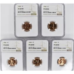 5 - 1964 LINCOLN CENTS NGC PF68 RD