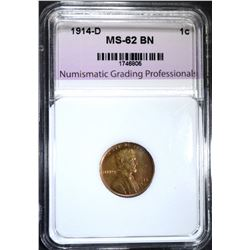 1914-D LINCOLN CENT, NGP UNC BN