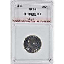 1950 WASHINGTON QUARTER, CCGS SUPERB GEM+++
