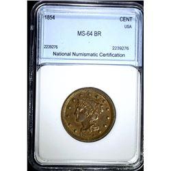 1854 LARGE CENT, NNC CH/GEM BU BR