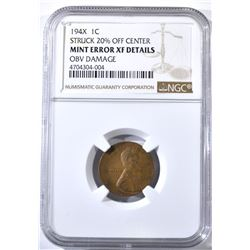 194X MINT ERROR LINCOLN CENT, NGC XF details