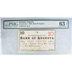 1863 10 CENT BANK OF AUGUSTA GEORGIA